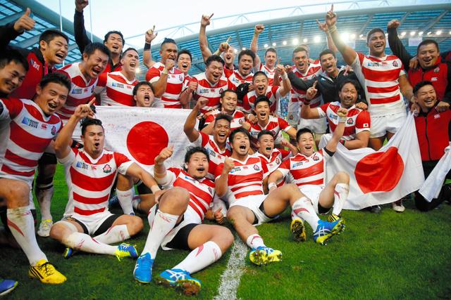ラクビー日本、優勝候補の南アフリカに歴史的勝利